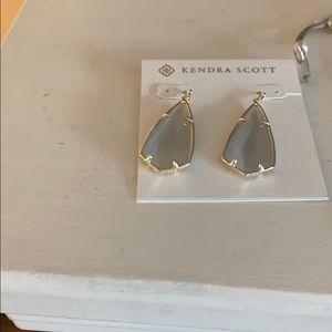 Kendra Scott gold drop earrings in slate cats eyes